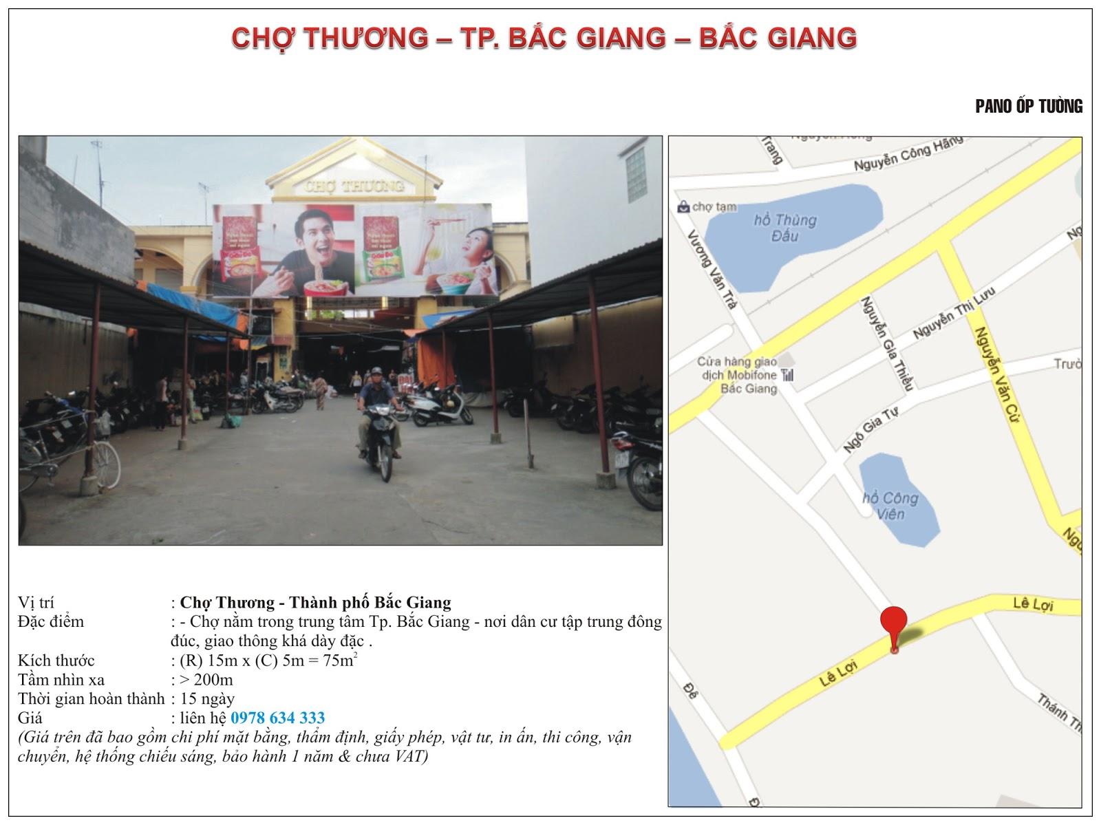 Quảng cáo tại chợ Thương - Bắc Giang