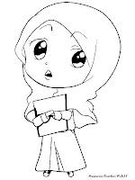 Mewarnai Gambar Sketsa Muslimah Berjilbab Untuk Diwarnai