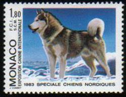 1983年モナコ公国 アラスカン・マラミュートの切手