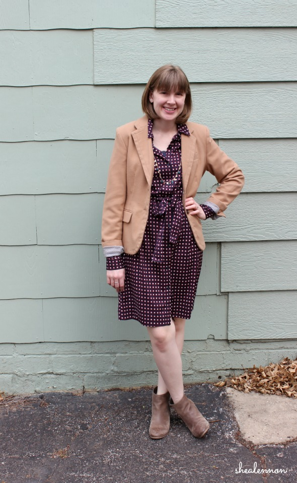 Camel Blazer with Print Shirtdress