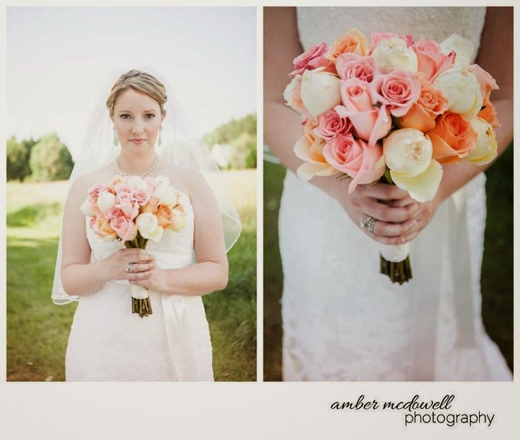 bride with pink and peach rose bouquet