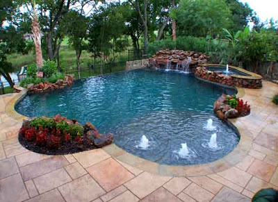horizon pool, patio, landscaping