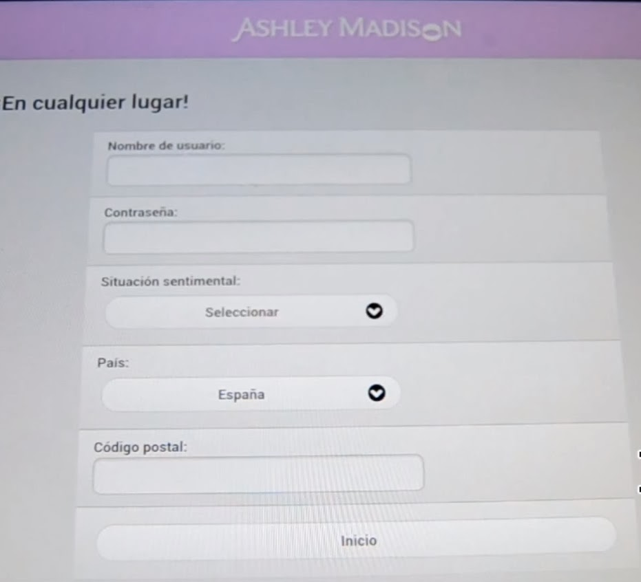 ashley madison entrar
