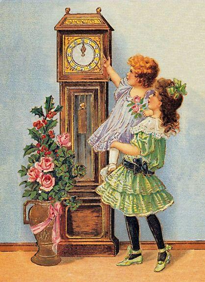 Image ancienne enfants devant une horloge