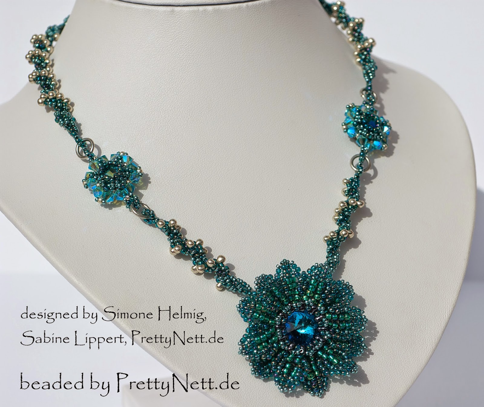 "Necklace ""Sunnflower"" beaded by PrettyNett.de"