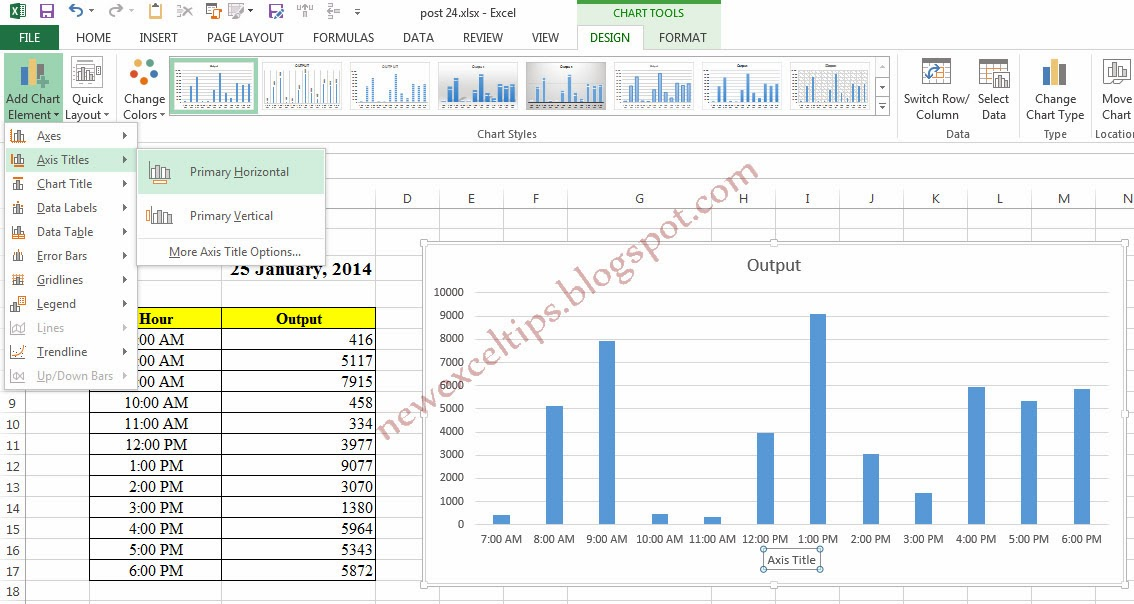 how to add title above chart in excel