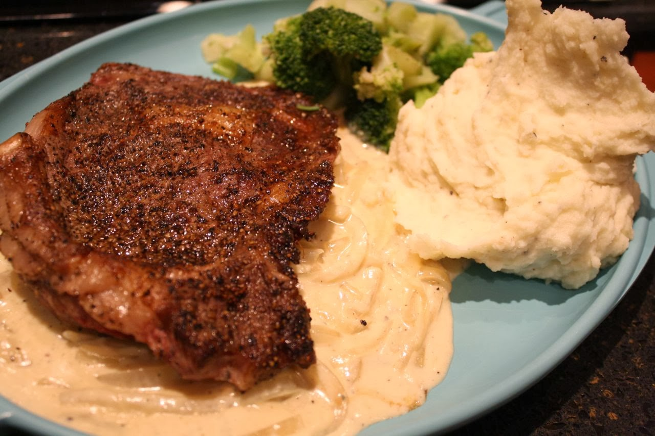 grilled ribeye steak with onion blue cheese sauce grilled ribeye steak ...