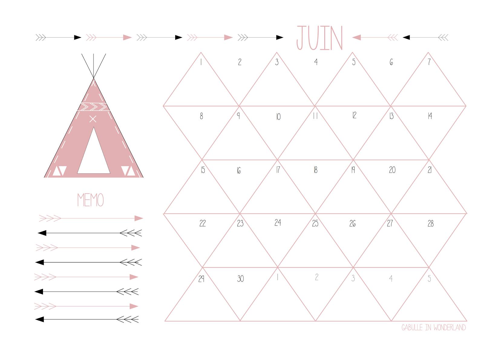 Gabulle in wonderland calendrier du mois de juin imprimer - Calendrier du mois de juin 2017 ...