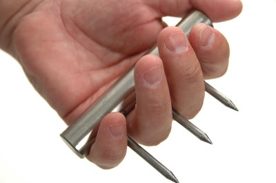 nails through metal bar improvised weapons spiked knuckle  dusters