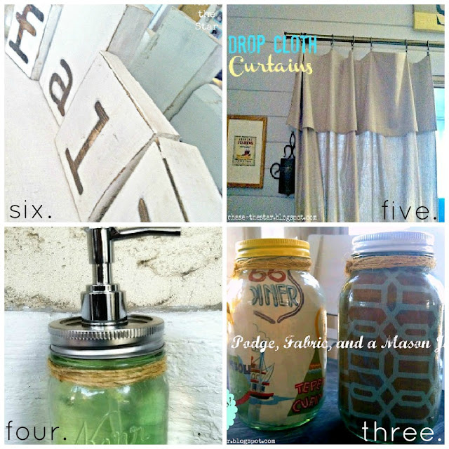 http://www.chasethestar.net, fall blocks, drop cloth curtains, mason jar soap dispenser, fabric lined mason jars