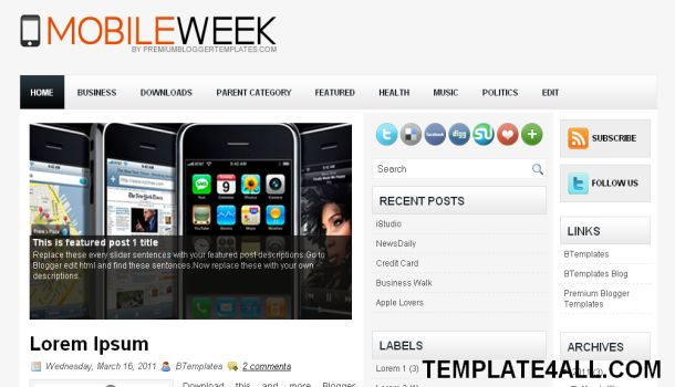 Mobiles Blogging Blogger Template