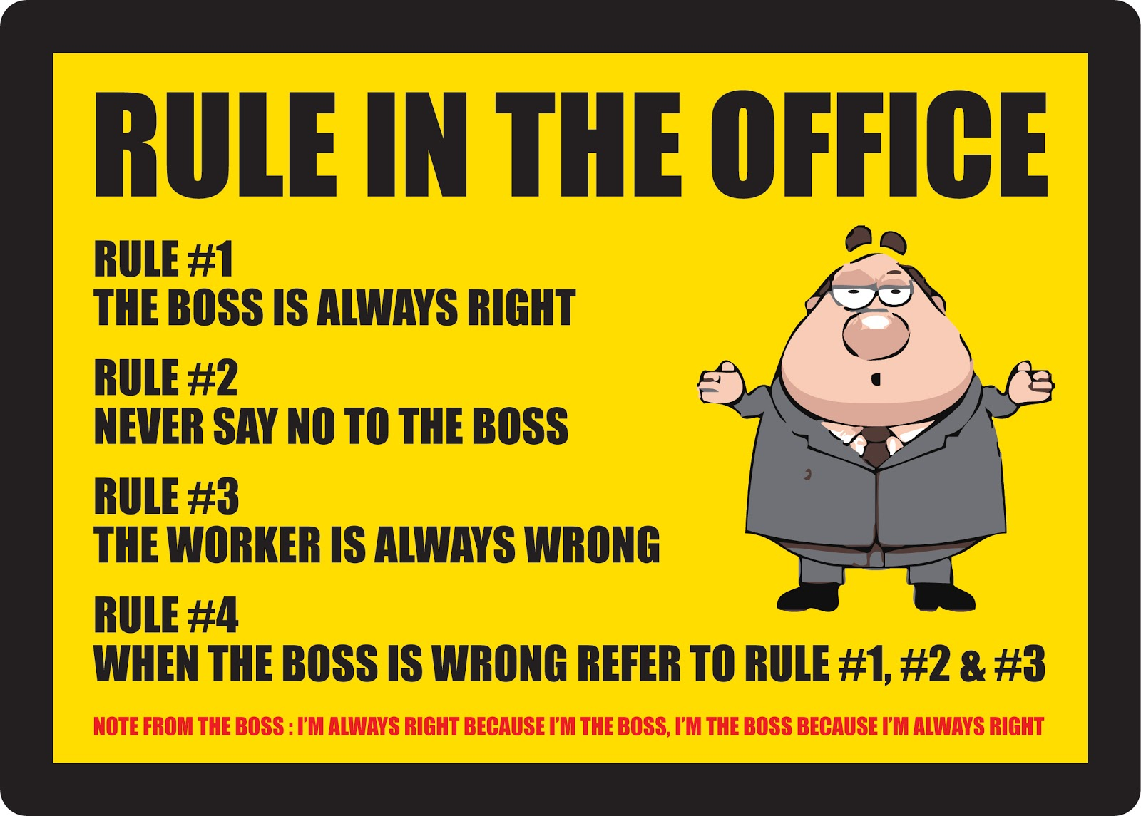 boss is always right essay Free essay: a person's right to privacy is being challenged with the high use of social media such as facebook and twitter what used to be considered part.