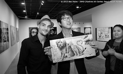 Ben Heine Solo Exhibition: Gifts for exhibition visitors in South Korea: Ben Heine brochures and signed posters at Hyehwa Art Center
