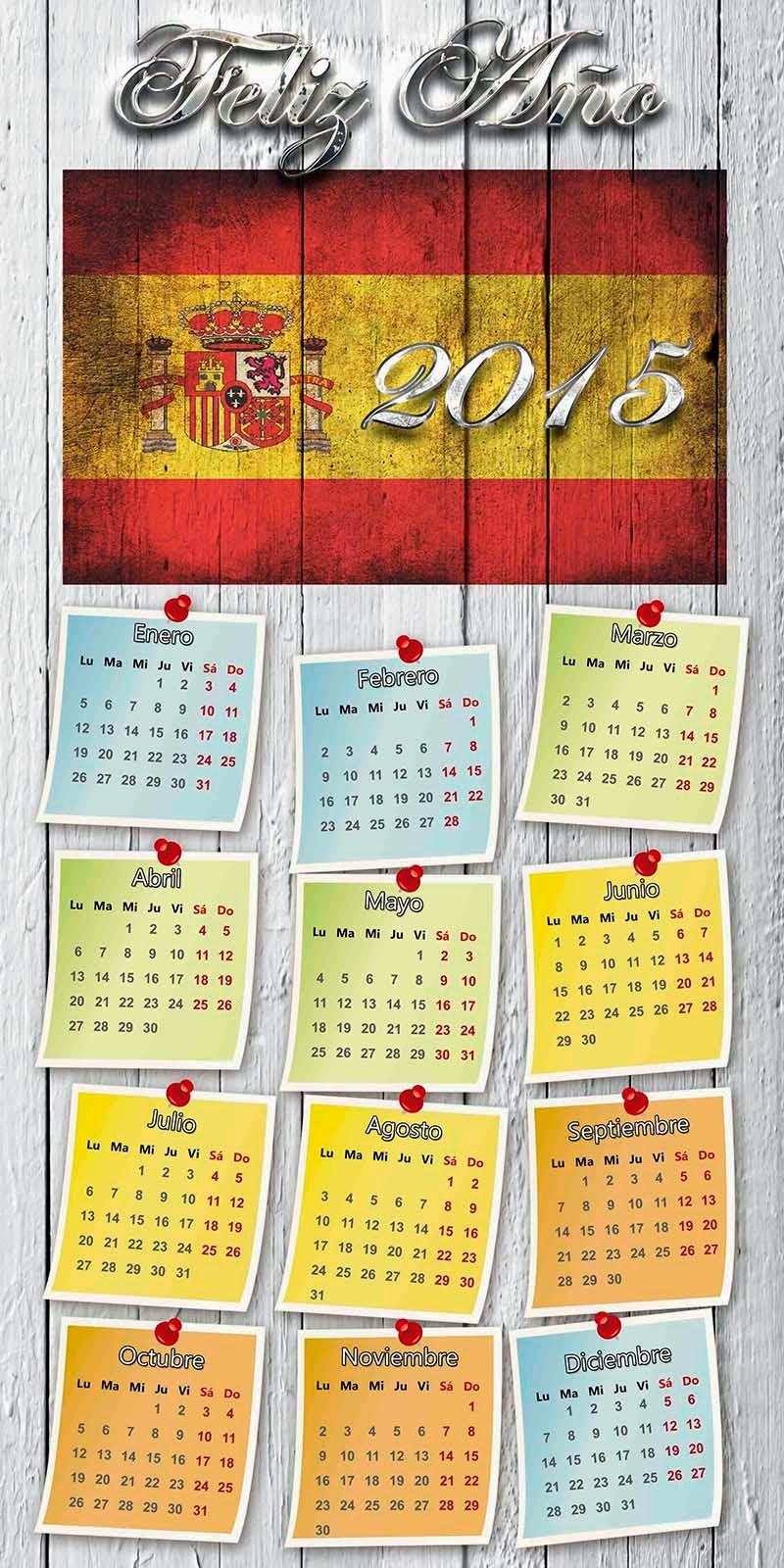 Muro de madera con bandera de España y calendario 2015