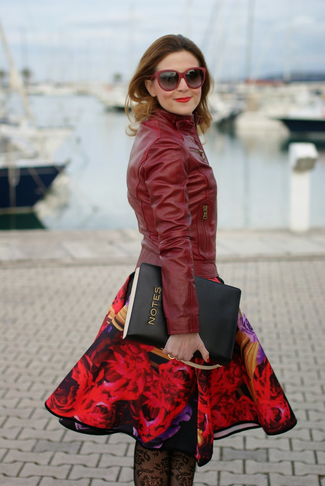 Romwe dark roses skater skirt, gonna ruota a fiori, Moschino notes bag, Fashion and Cookies, fashion blogger