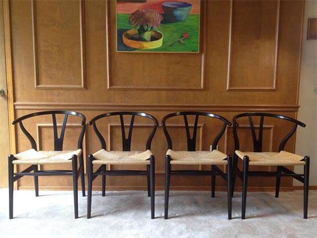 sillas vintage antiguas de los 50s-CH24-version negra