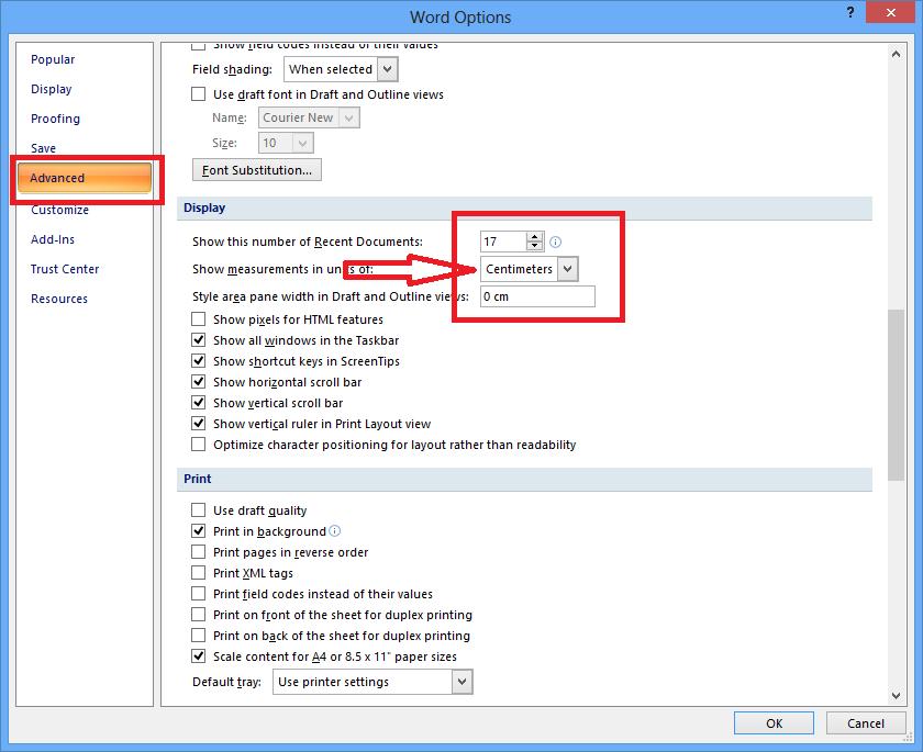 Cara Merubah Satuan di Microsoft Word