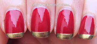 simple Christmas manicure - red base with gold french tips, classy nail art
