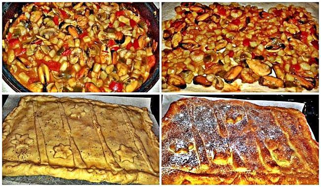 Preparación de la empanada de frutos de mar con masa de pan