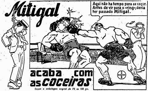 Lutadores de boxe serviram para ilustrar a campanha do medicamento Mitigal, anunciado em 1939.