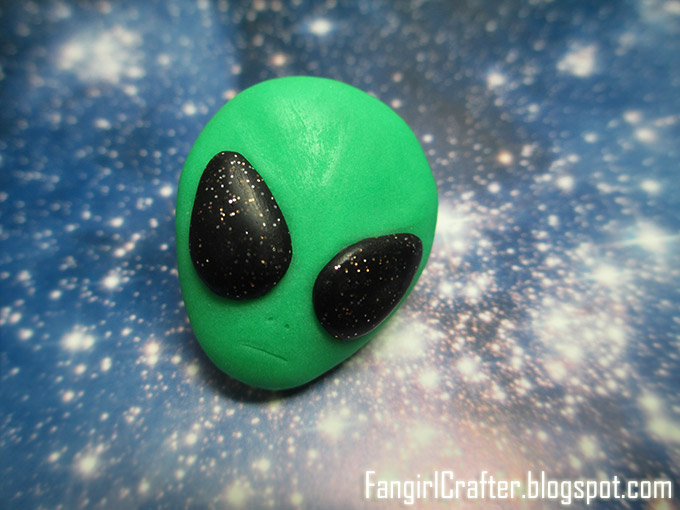 Polymer clay green alien head pin