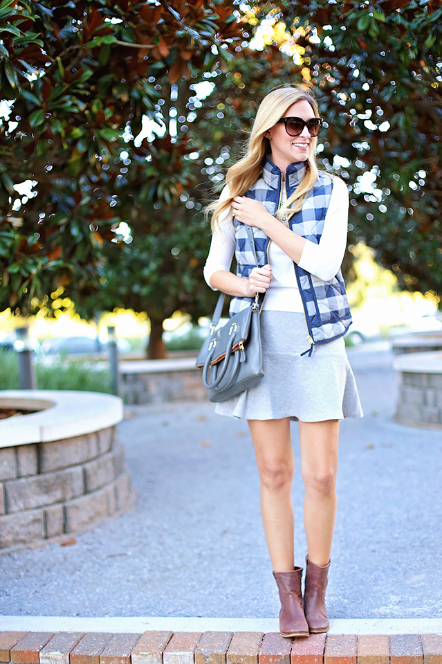plaid vest with fit and flare skirt