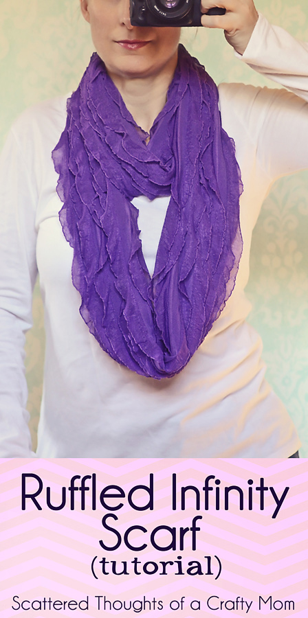 How to sew a Ruffled Infinity Scarf tutorial infinityscarf How To Wear An Infinity Scarf Tutorial