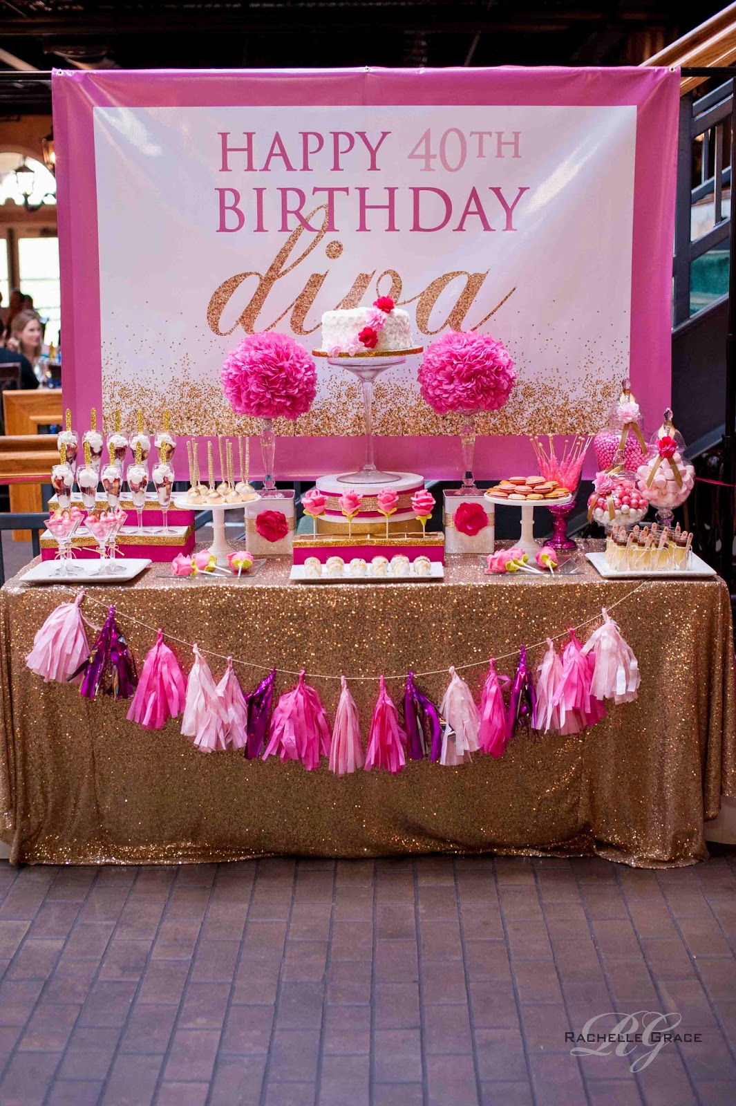 Create cook capture diva pink gold 40th birthday party for Decoration 40 years old party