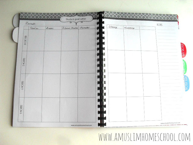 Student goal setter for the Home School Planner