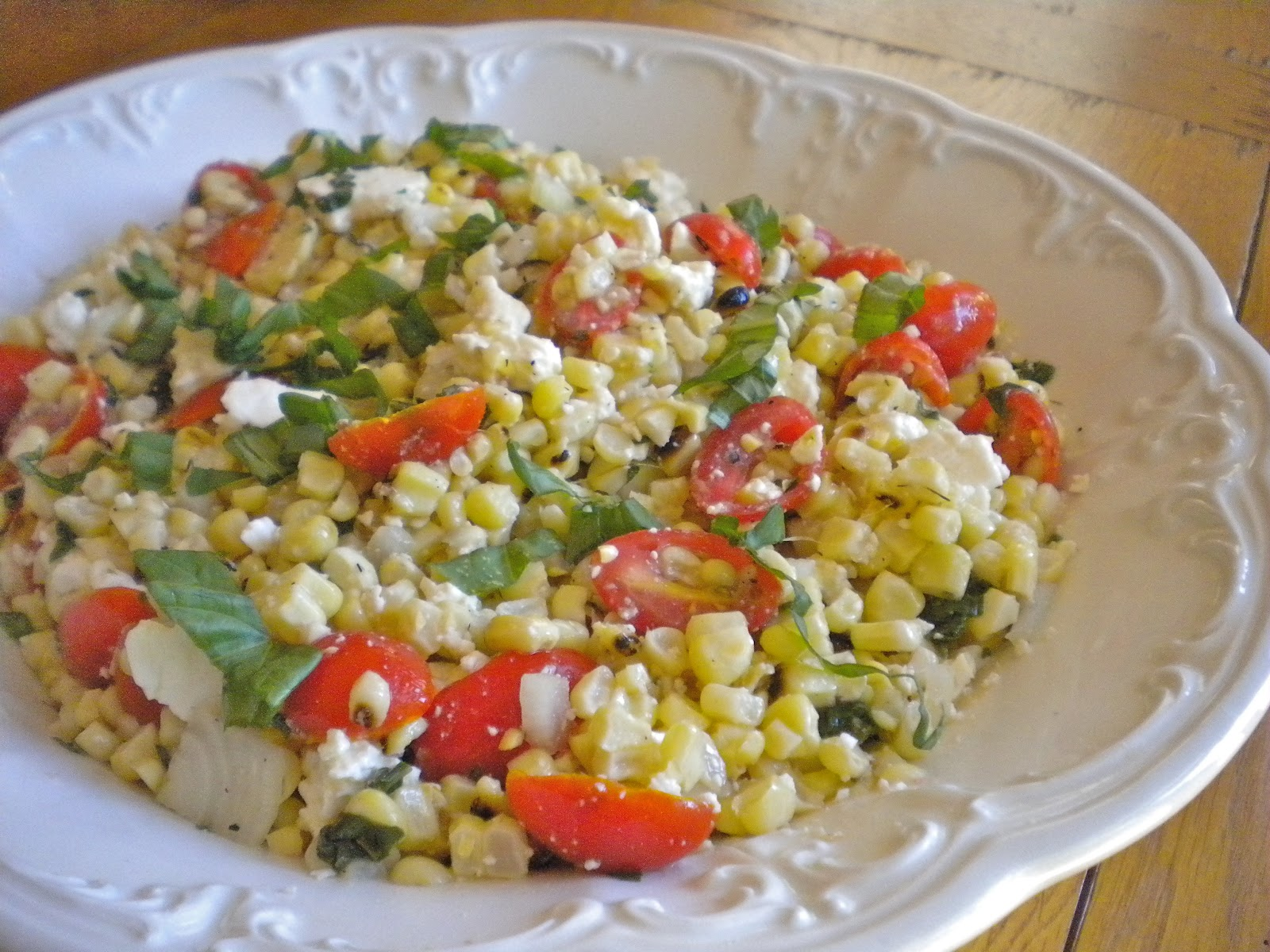 Kitchen Cactus: Grilled Corn and Tomato Salad with Basil ...