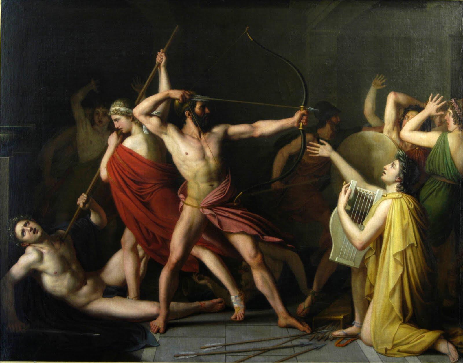 Ulysse et T  233 l  233 maque poursuivant les pr  233 tendants de P  233 n  233 lope  1812    Odysseus And The Suitors