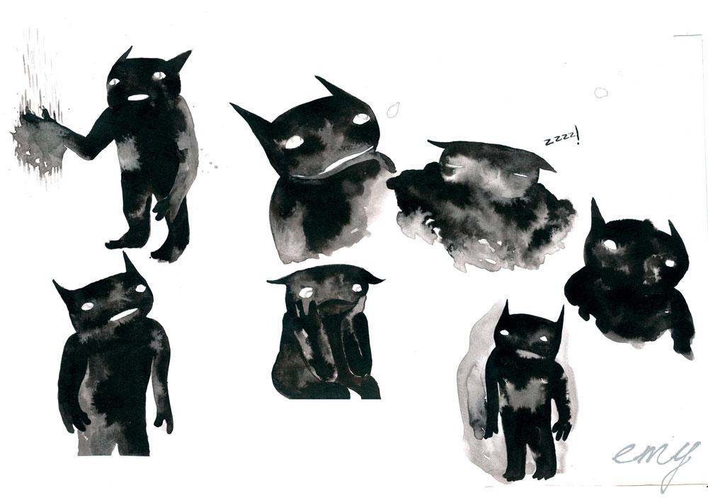 Bien-aimé Emy, illustration, BD: Tâche d'Encre sketches 2 BW18