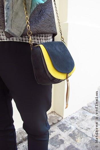 Petit sac bleu jaune double rabat Matières à réflexion