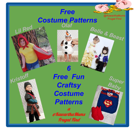 Kawartha Lakes Mums Free Costume Patterns 6 Free fun Craftsy patterns. @KawarthaMums Frugal Find :Kristoff, Lil Red,Olaf, Belle, Beast, Super Baby