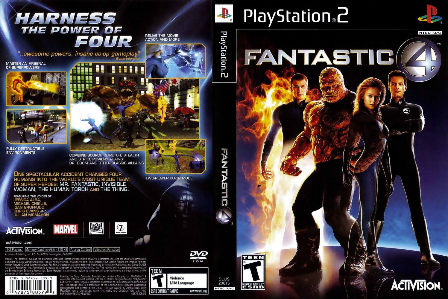 Jogo Quarteto Fantástico PS2 DVD Capa