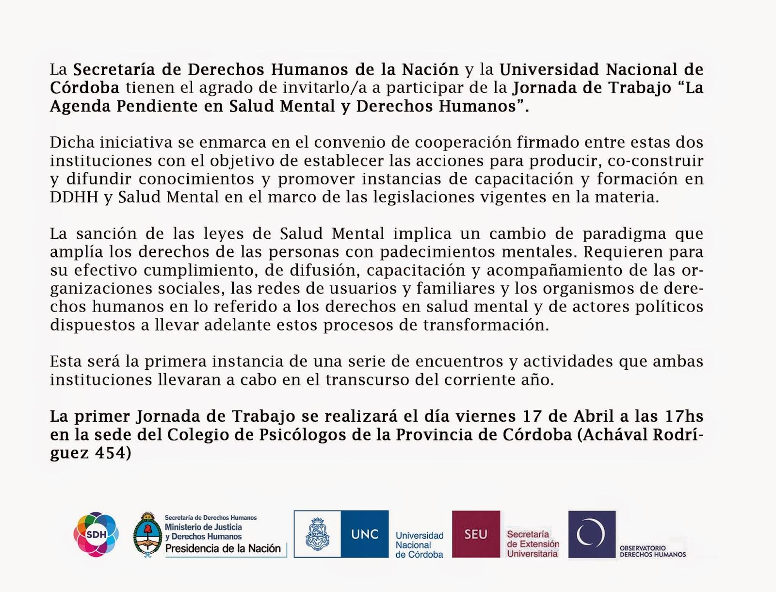 """Invitación Jornada de trabajo """"La Agenda Pendiente en Salud Mental y DDHH"""""""