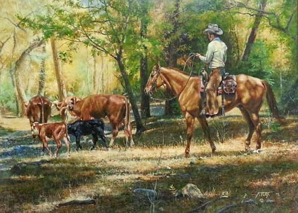 Im genes arte pinturas paisajes del campo con vaqueros - Cuadros de vacas ...