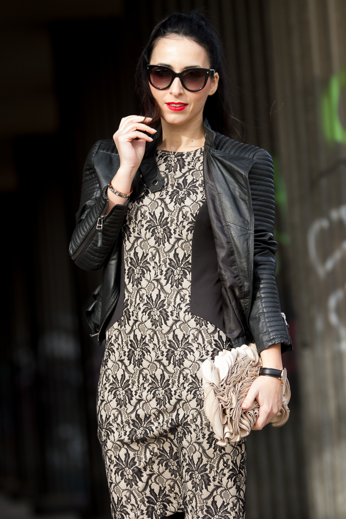 Romantinc lace dress in black and nude color with leather biker jacket by Zara blogger fashion trend withorwithoutshoes