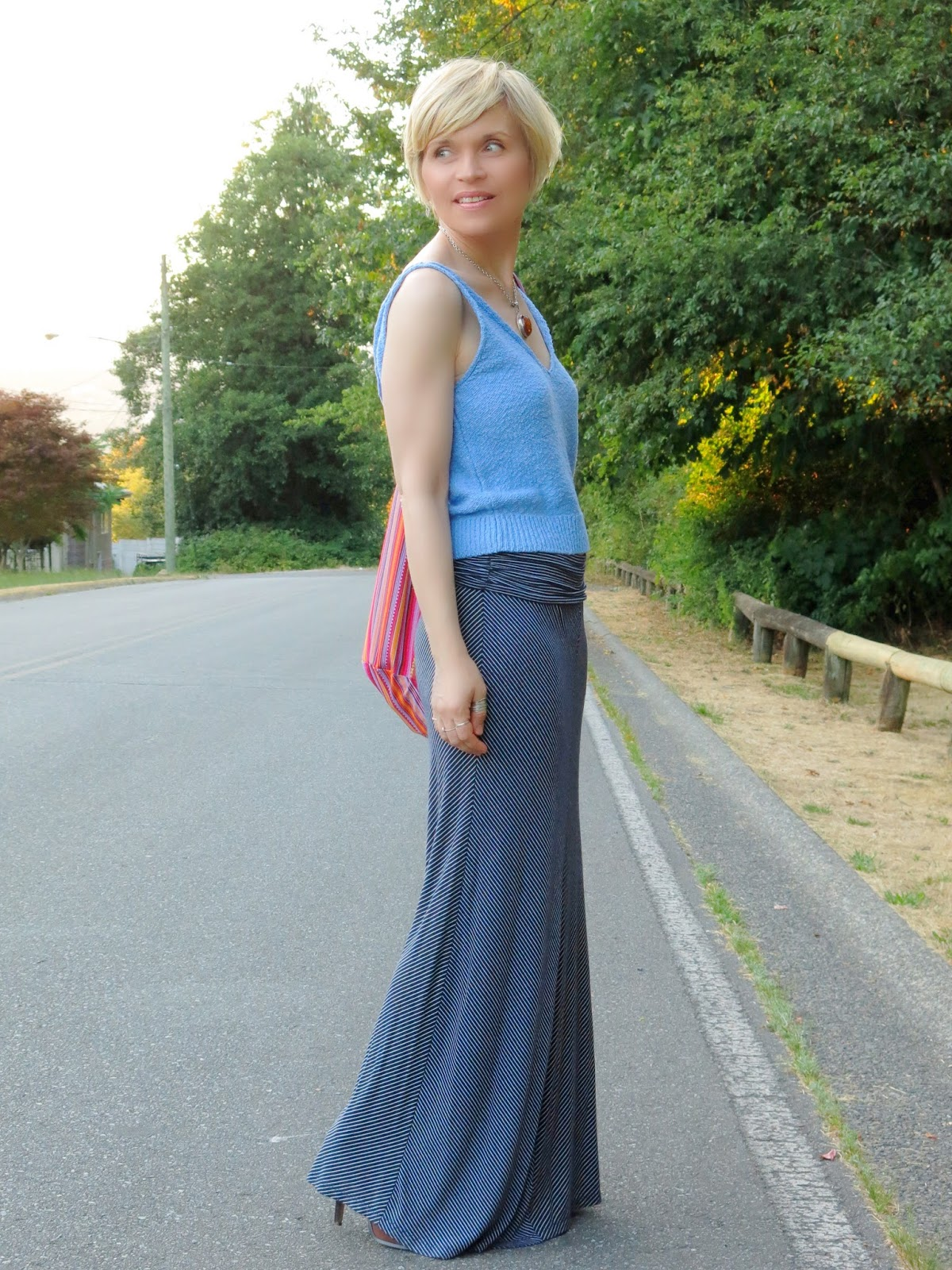 styling a striped maxi-skirt with a Zara knit camisole and colourful hobo bag