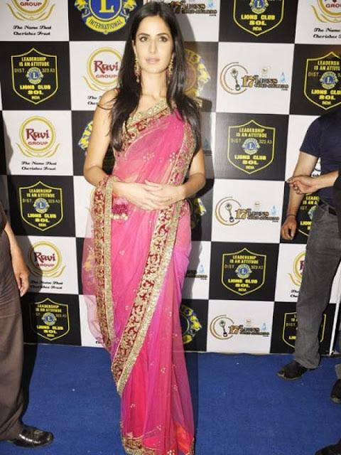 Katrina Kaif in a Pink Net Sari Pics