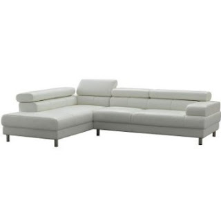 TOSH Furniture White Leather Sectional Sofa FY952