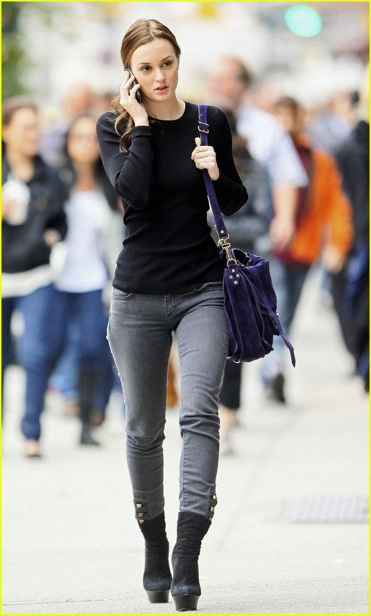 Cardigans and Couture: Leighton Meester Street Style