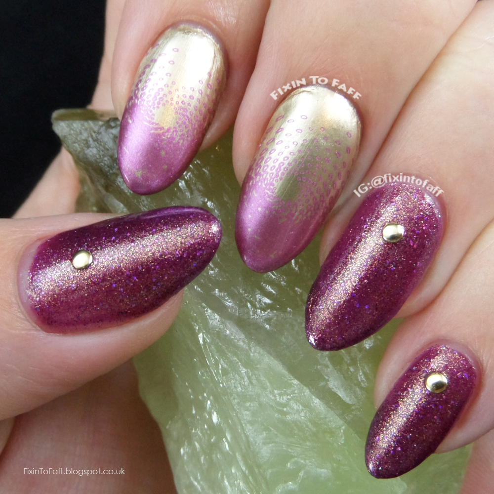 Gold and purple plum nail art stamped vortex.