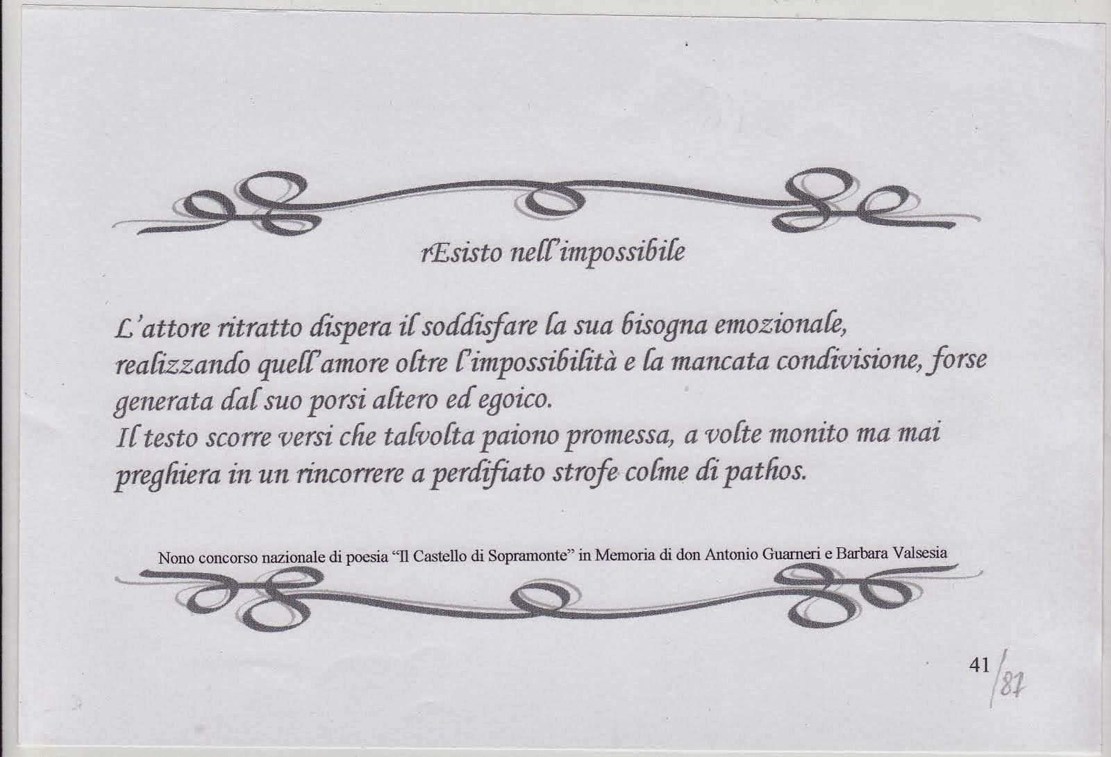 """recensione alla poesia :"""" rEsisto nell'impossibile """""""