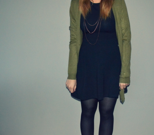 black-skater-dress-green-cardigan