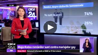 Digi24.ro: Sondaj. Românii sunt contra mariajelor gay