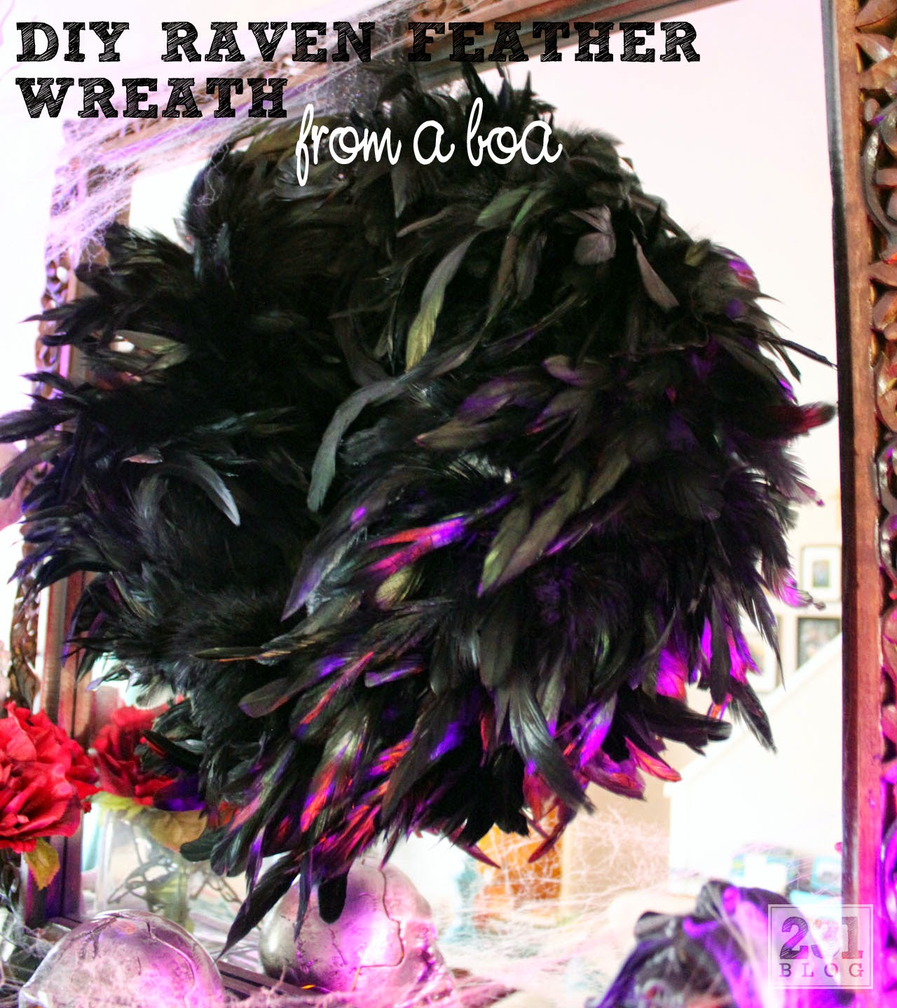 DIY Raven Feather Wreath from a Boa
