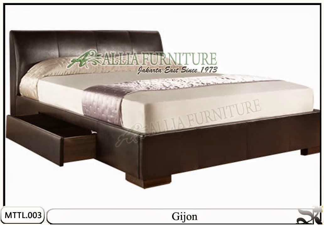 Tempat tidur minimalis model laci kulit Gijon