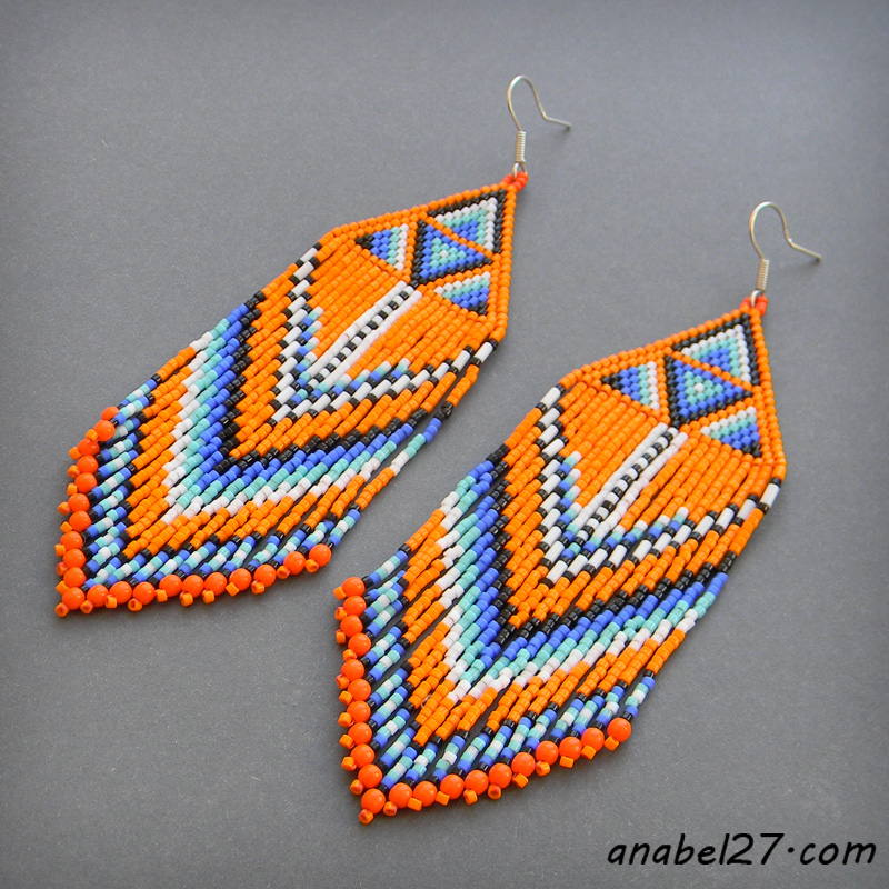 Seed bead earrings Native American inspired