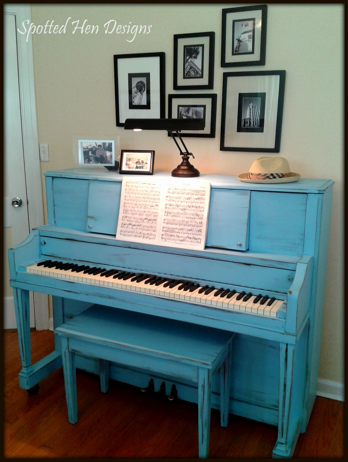 spotted hen designs  painted piano